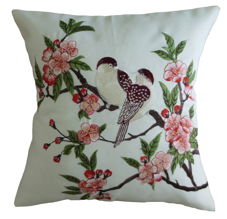 Violet Linen Mante Carlo Decorative Embroidered Bird Design Fine