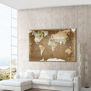 Large framed world map wayfair world map photographic print on canvas in brown gumiabroncs Gallery