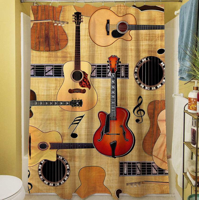 Manual Woodworkers & Weavers Guitar Collage Shower Curtain | Wayfair