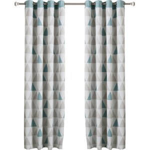 Mixed Triangle Print Room Darkening Thermal Curtain Panels (Set of 2)