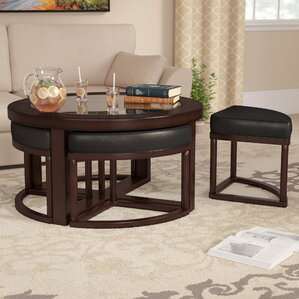 Plumwood Coffee Table With Nested Stools