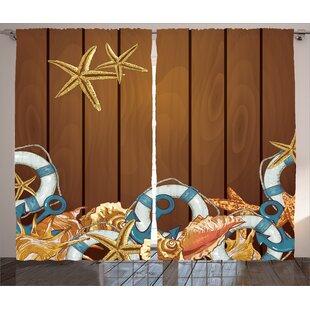 Nautical Seashells Room Darkening Rod Pocket Curtain Panels Set Of 2
