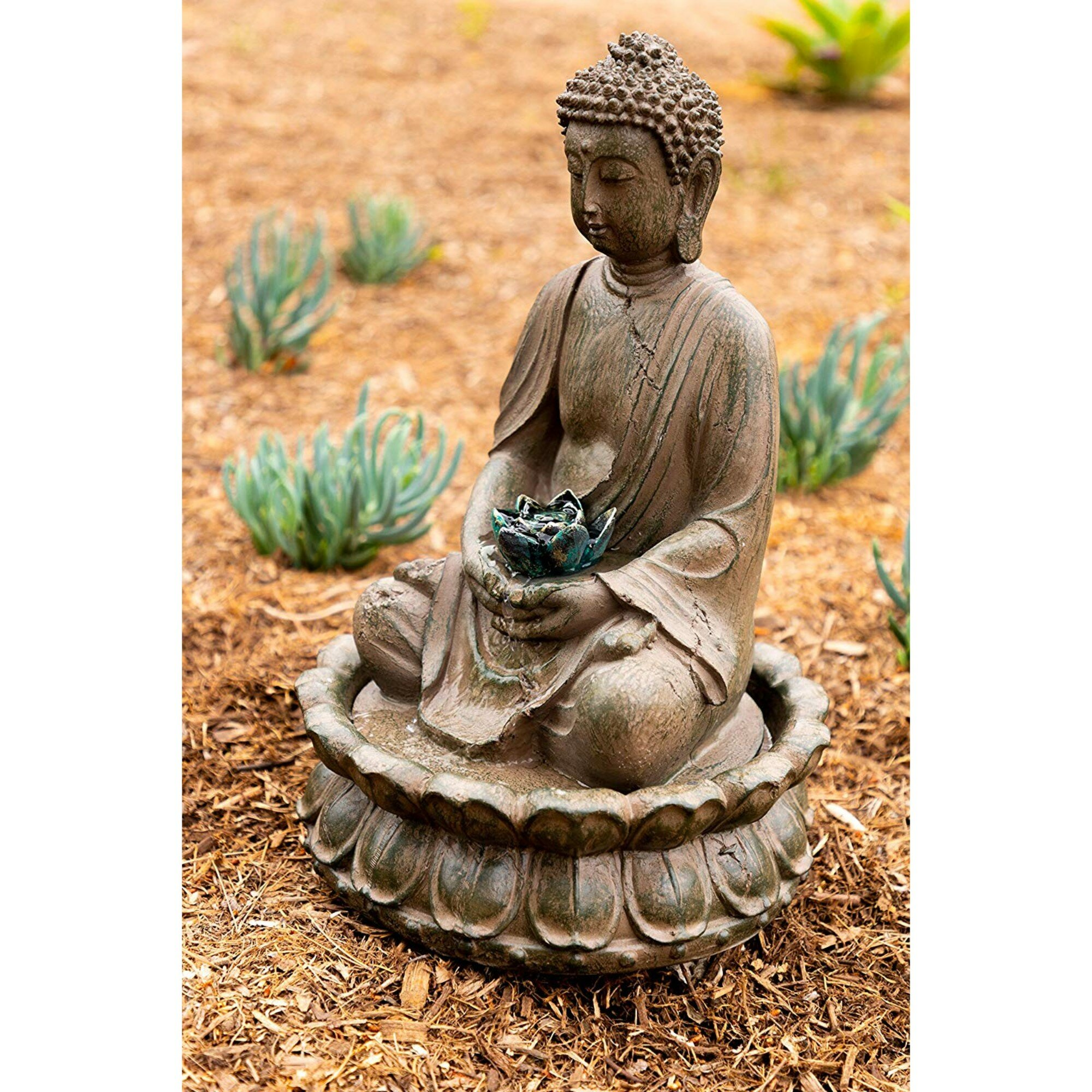 Woodland Imports Polyresin Buddha Tabletop Fountain With Light | Wayfair
