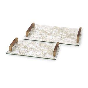 Beth Kushnick 2 Piece Glass Tray Set