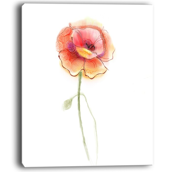 Designart isolated watercolor poppy flower large flower painting isolated watercolor poppy flower large flower painting print on wrapped canvas mightylinksfo