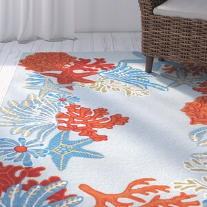Clowers Ocean Scene Aqua Indoor/Outdoor Area Rug
