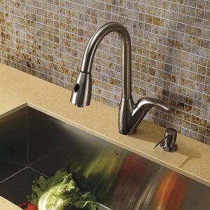 VIGO Romano Single Handle Pull-Down Spray Kitchen Faucet with Soap Dispenser