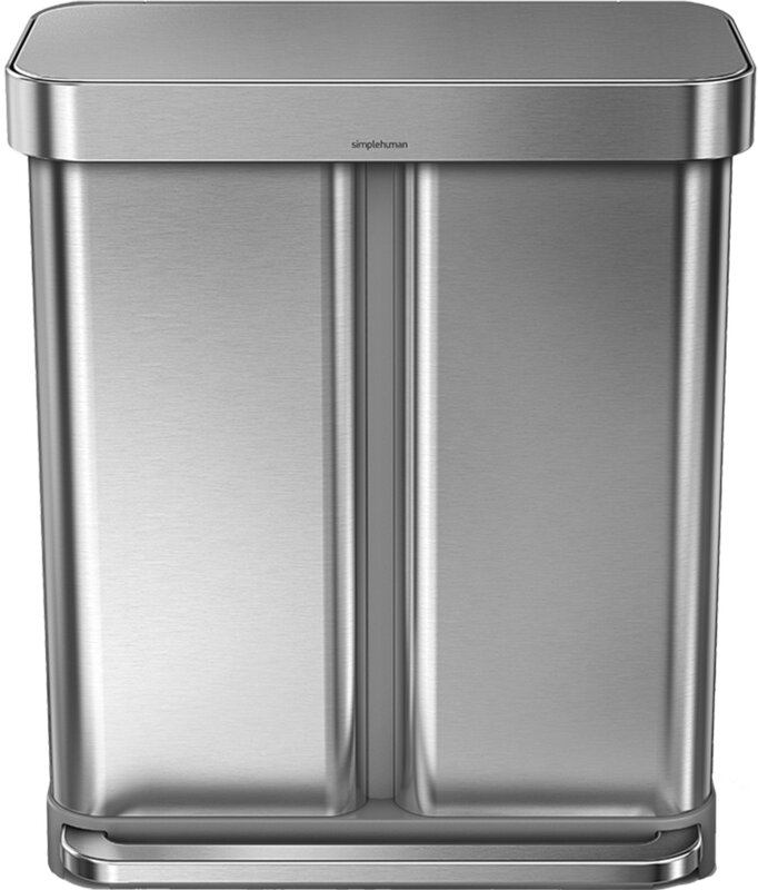 15 gallon dual compartment rectangular step trash can with liner pocket recycler stainless. Black Bedroom Furniture Sets. Home Design Ideas