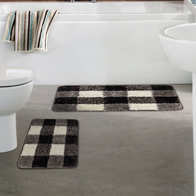 Checkered Mat: Crover 2 Piece Microfiber Checkered Bath Mat Set & Reviews