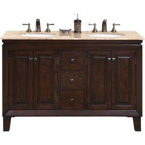 Jessica 55  Double Bathroom Vanity SetSilkroad Exclusive   Wayfair. Silkroad Exclusive Travertine Stone Top 29 Inch Bathroom Vanity. Home Design Ideas