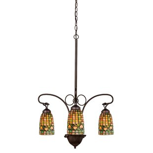 Victorian chandelier wayfair victorian lodge tiffany acorn 3 light shaded chandelier mozeypictures Image collections