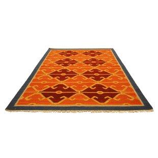 Kilim Hand Tufted Wool Orange Rug by Bakero