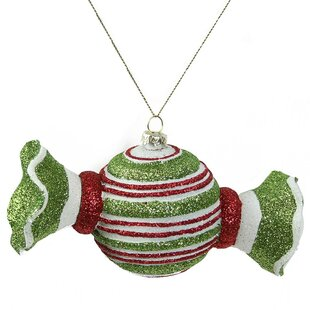 Merry and Bright Glitter Striped Shatterproof Christmas Candy Ornament