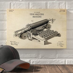 2ba4b77bb73f2  Type Writing Machine Blueprint Patent Parchment  Print on Wrapped Canvas  in Beige
