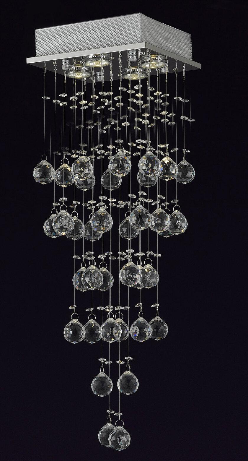 Orren Ellis Berkman 4 Light Crystal Chandelier