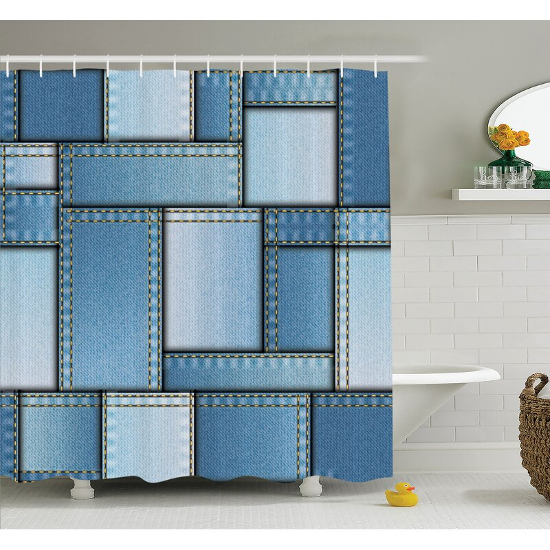 Farm House Patchwork Of Different Size Denim Fabric Pattern With Vertical Warp Beam Artprint Shower Curtain