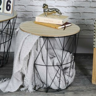 Wire basket side table wayfair crouse metal wire basket wooden top side table greentooth Images