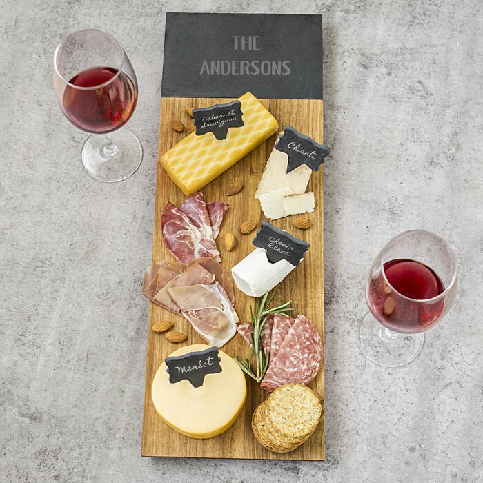cathys concepts personalized 6 acacia and slate charcuterie