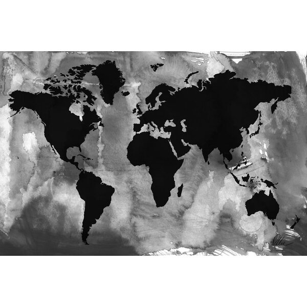 Andrew Lee Maps And Flags Black White World Map Graphic Art Wred On Canvas Wayfair Co Uk