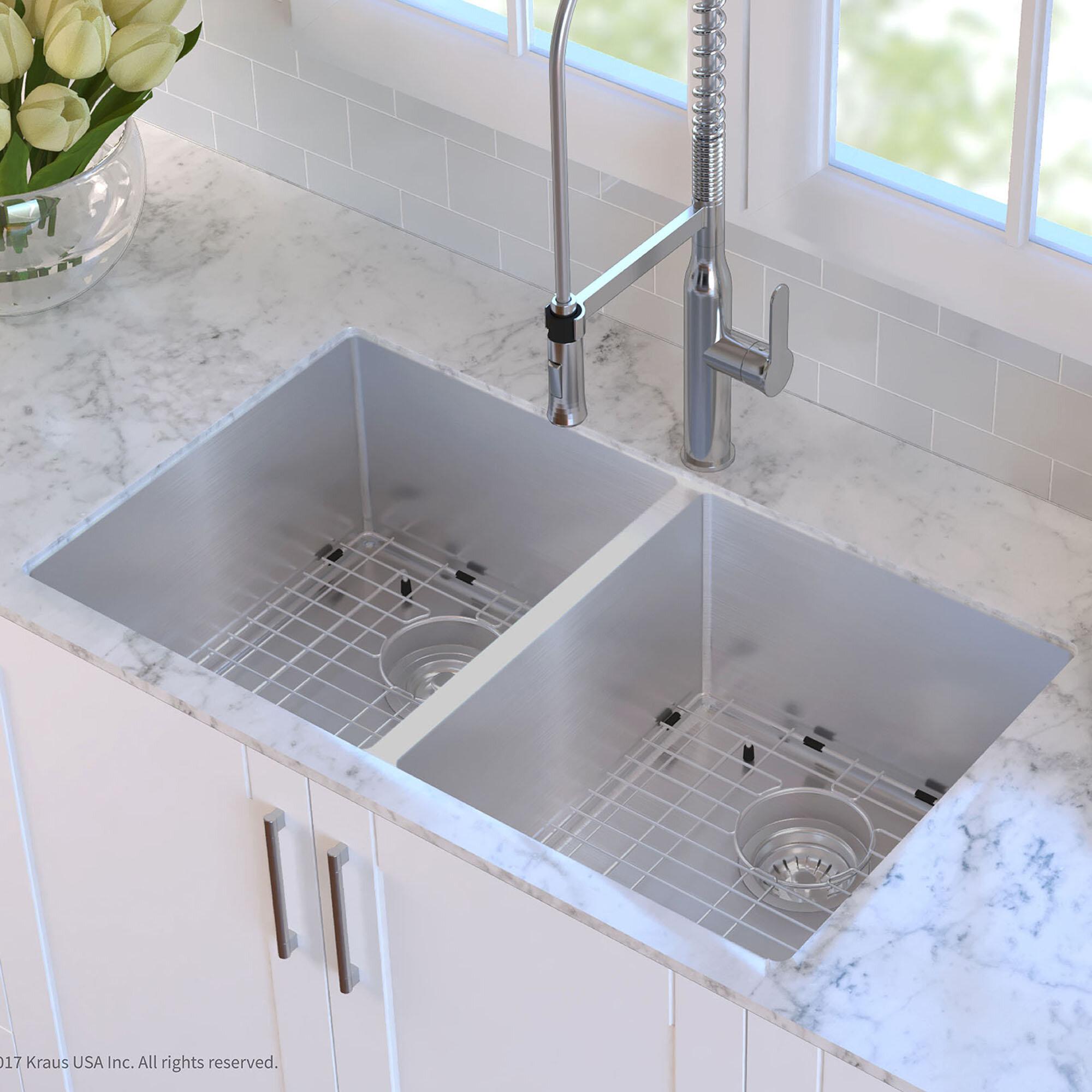 kraus 33   x 19   double basin undermount kitchen sink with drain assembly  u0026 reviews   wayfair kraus 33   x 19   double basin undermount kitchen sink with drain      rh   wayfair com
