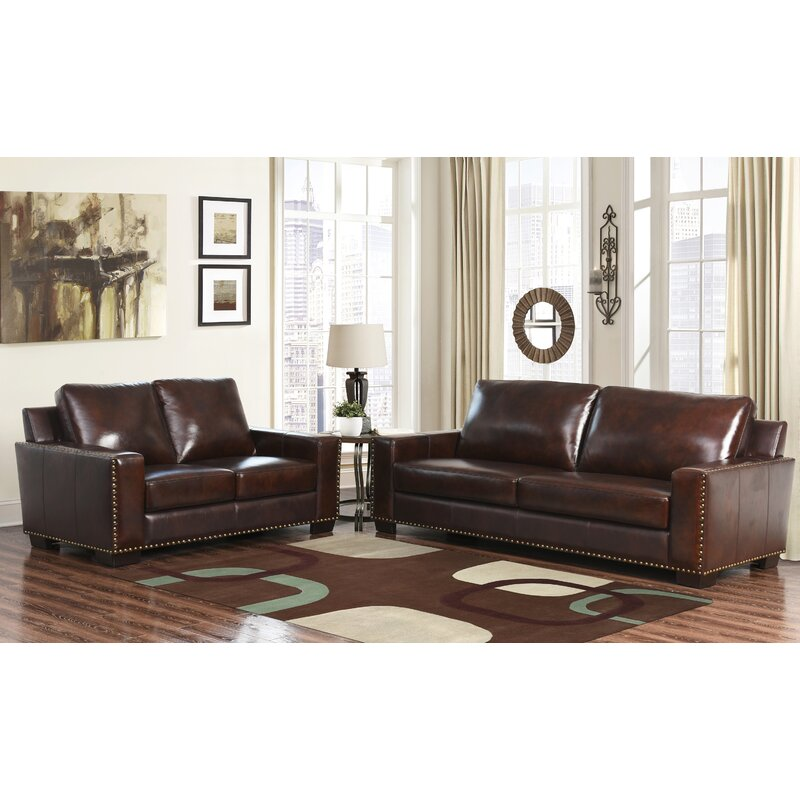 William 2 piece leather living room set birch lane 2 piece leather living room set