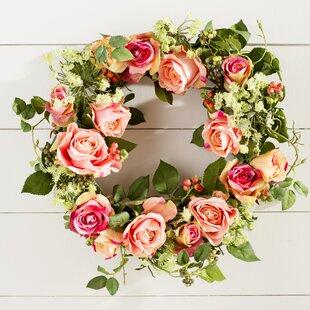 Pink floral wreath wayfair 20 pink rose wreath mightylinksfo