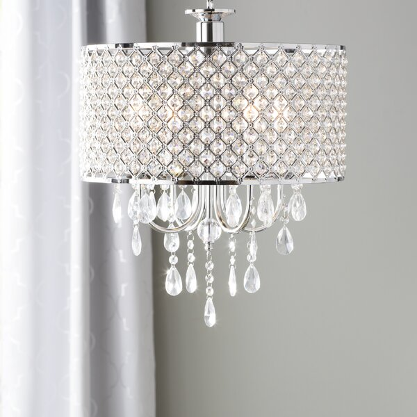 willa arlo interiors aurore 4 light led crystal chandelier reviews