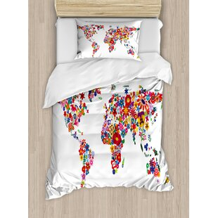 World map bedding sets wayfair hippie world map with bunch of flower petals essence fragrance garden growth atlas image duvet set gumiabroncs Gallery
