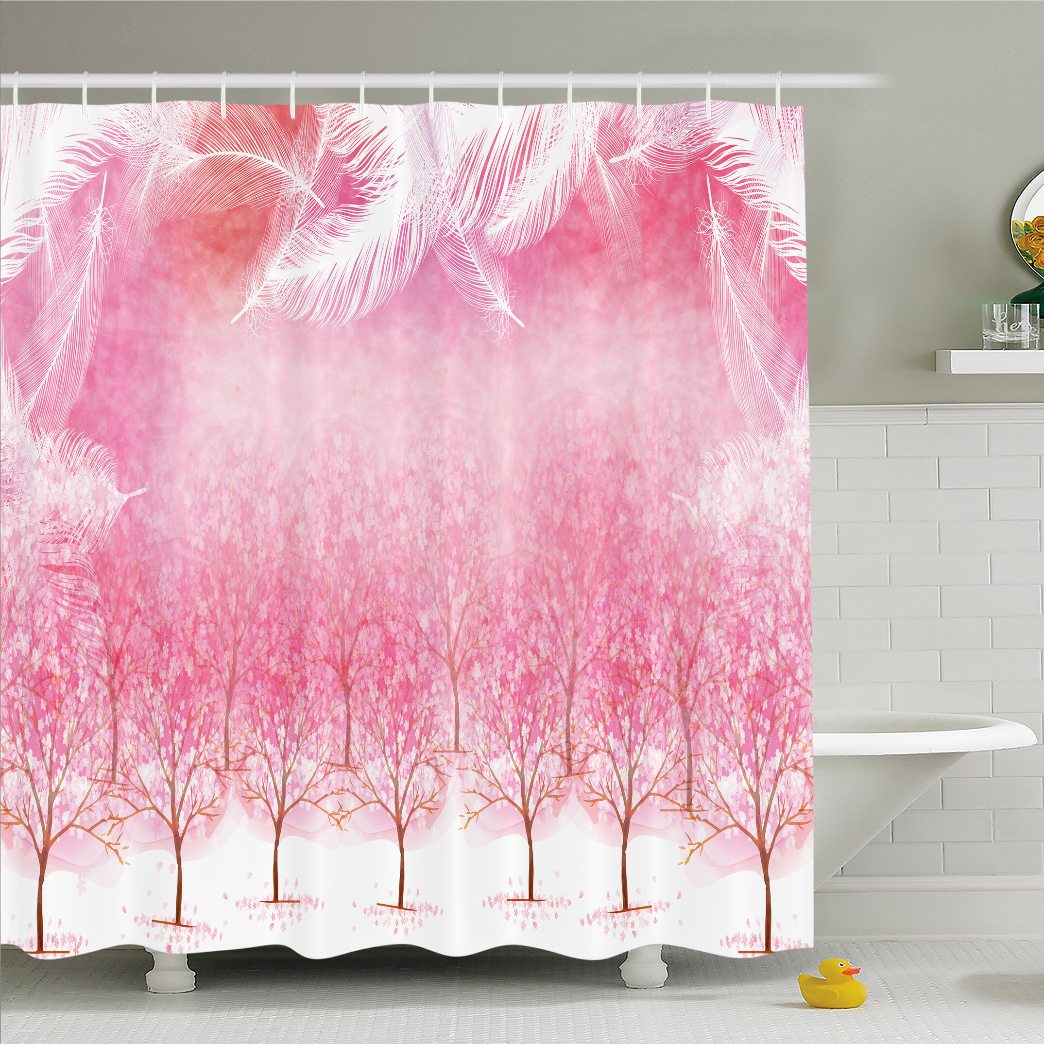 East Urban Home Hazy Japanese Cherry Blossom Trees Shower Curtain Set