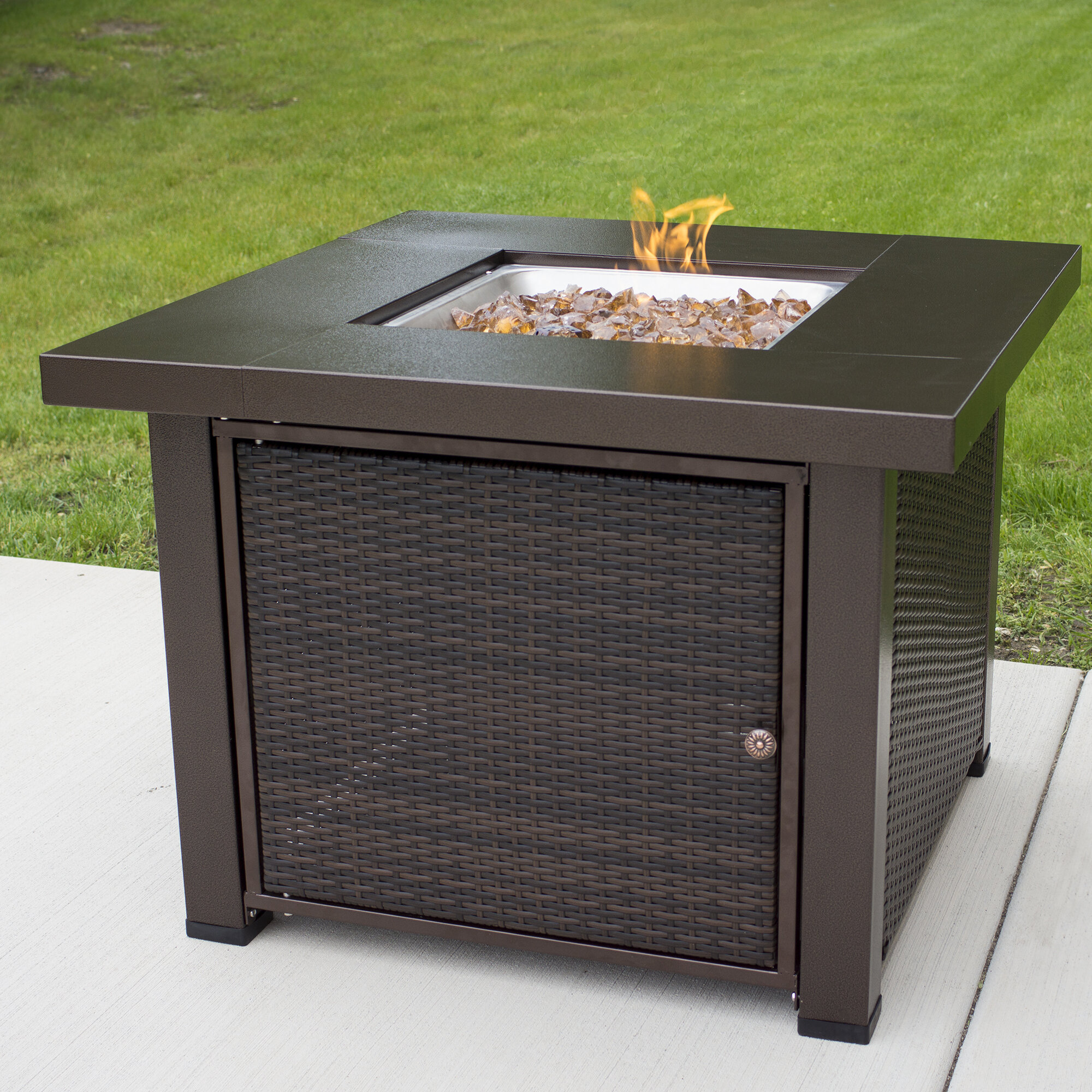 Pleasant hearth rio wicker stainless steel propane fire pit table reviews wayfair