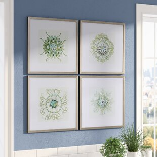 Captivating Organic Symbols 4 Piece Framed Graphic Art Set