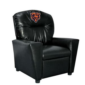 NFL Tween Kids Faux Leather Recliner with Cup Holder by Imperial