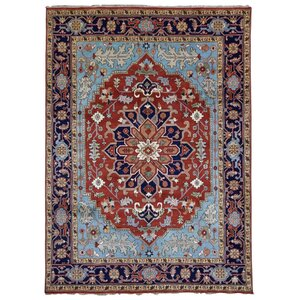 Foxburg Serapi Hand-Woven Wool Blue/Red Area Rug