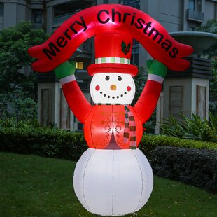 0c1fd6f7e19ec Snowman with Merry Christmas Banner Figurine