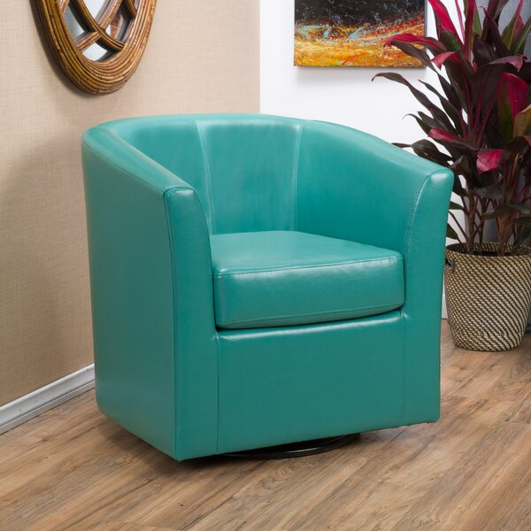 Wade Logan Wilmore Faux Leather Swivel Barrel Chair