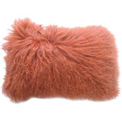 Brayden Studio Layden Lamb Fur Throw Pillow Finish: Orange