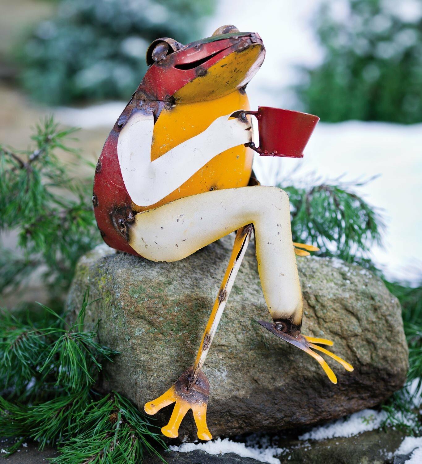 Plow Hearth Recycled Metal Coffee Frog Garden Statue Reviews Wayfair