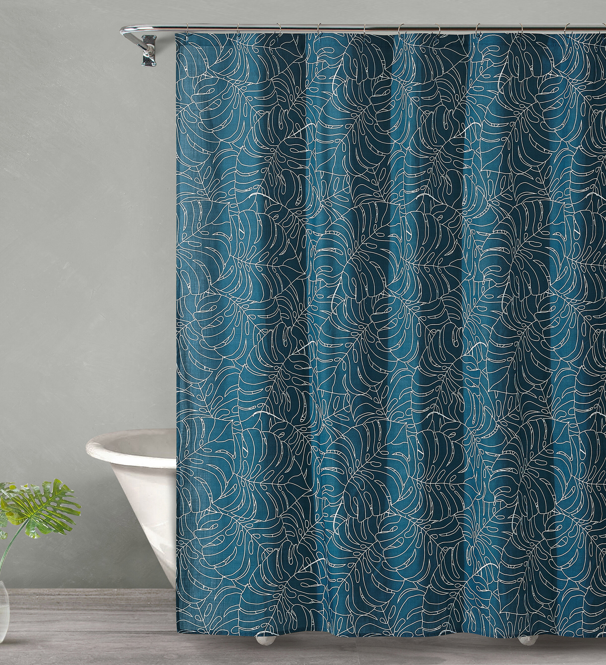 Bay Isle Home Dorrington Tropical Midnight Cotton Shower Curtain ...