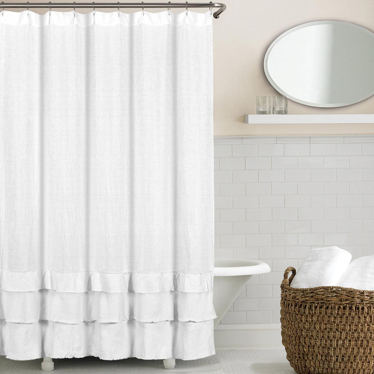 Lark Manor Imane Ruffled Belgian Linen Shower Curtain & Reviews ...