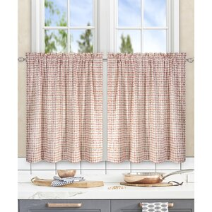 Breckan Ikat Check Tailored Tier Curtains (Set of 2)