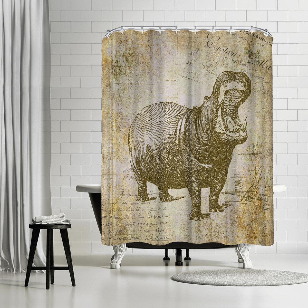 East Urban Home Lebens Art Hippo Vintage Shower Curtain
