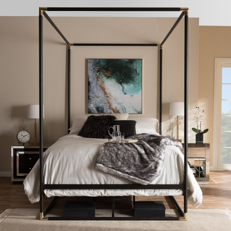 Baxton Studio Maria Queen Canopy Bed