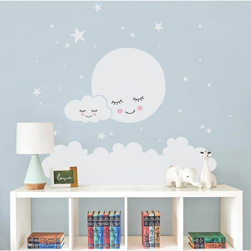 harriet bee burmeister moon clouds and stars wall decal | wayfair