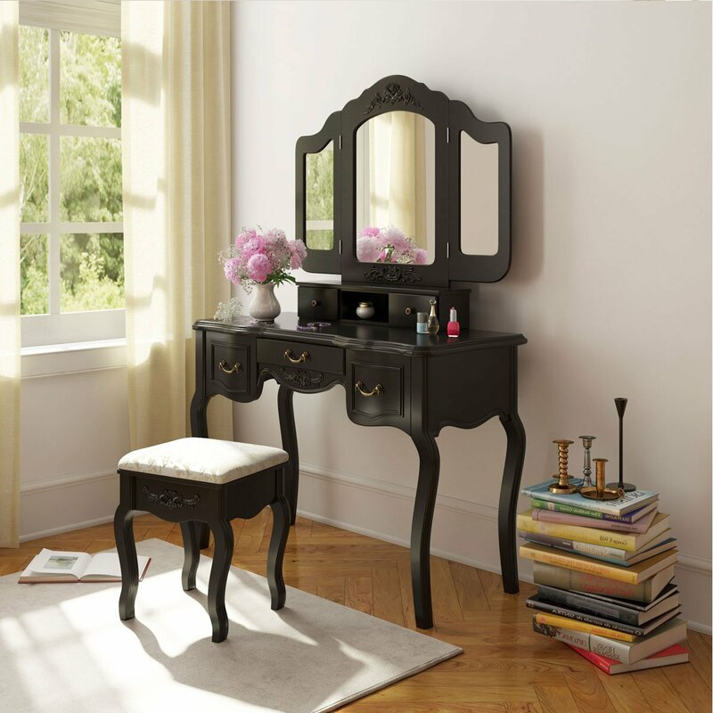 Merveilleux Alcott Hill Kingsford French Vintage Vanity Set With Mirror | Wayfair