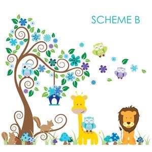 Swirly Tree, Jungle, Owl And Giraffe Nursery Wall Decal Part 71