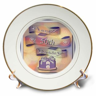 Ribbon And Cake Happy 50th Birthday Porcelain Decorative Plate