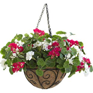Outdoor hanging baskets with artificial flowers wayfair lighted geranium hanging basket mightylinksfo