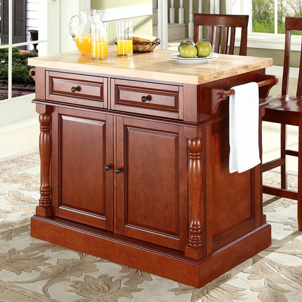 Darby Home Co Lewistown Kitchen Island Set with Butcher Block Top ...