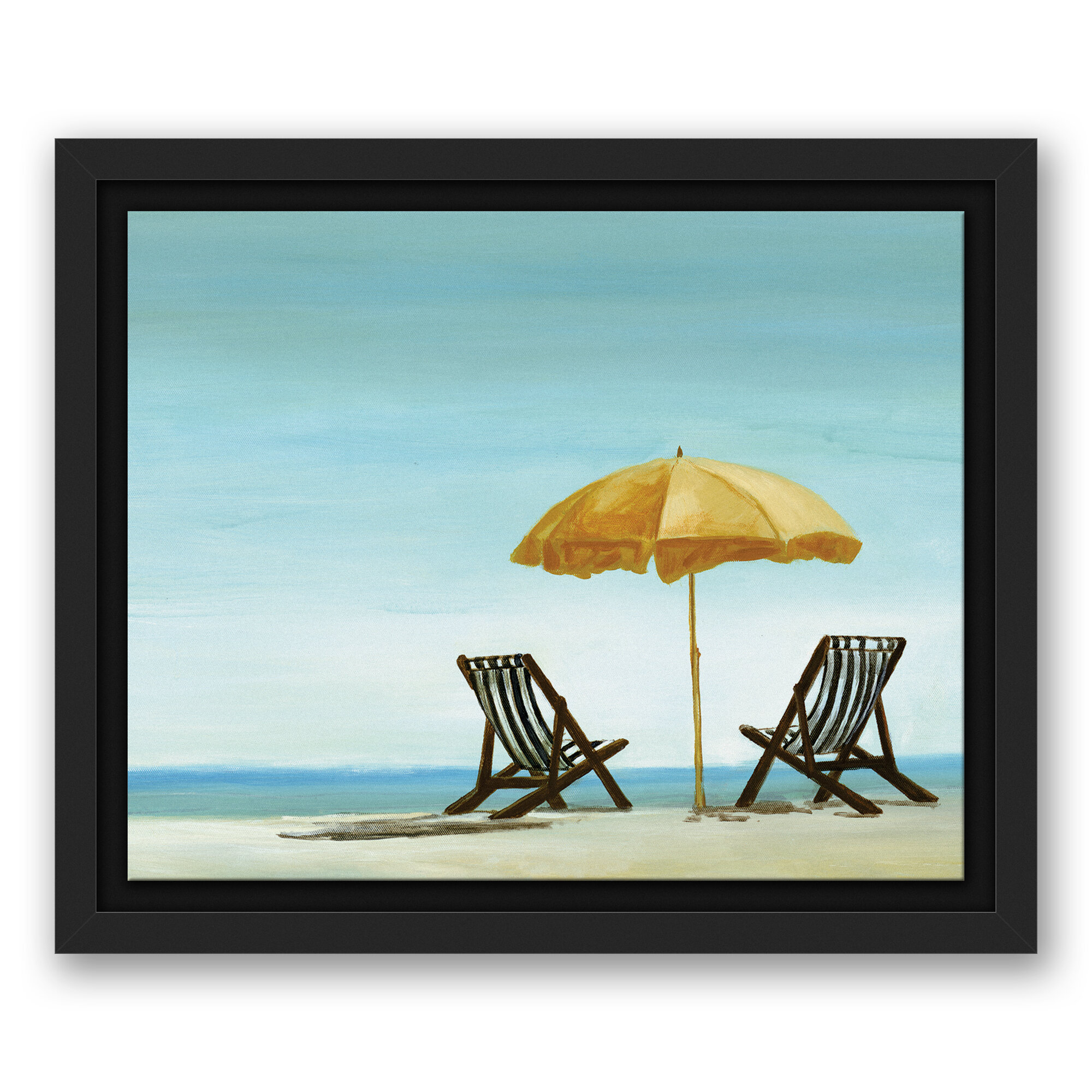 Highland Dunes Beach Chairs Under Yellow Umbrella Acrylic Painting