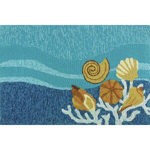 Coeymans Shell Turquoise Indoor/Outdoor Area Rug